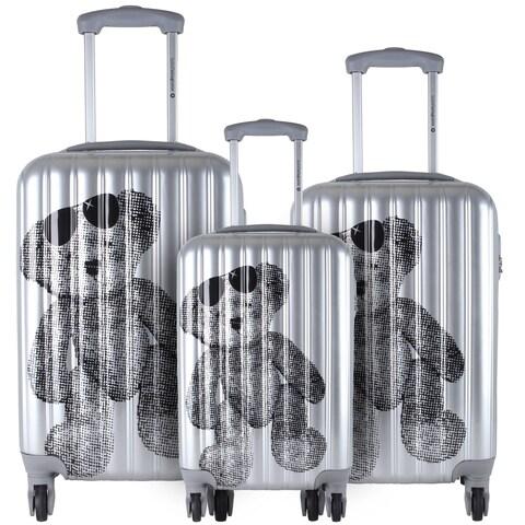 Lulu Castagnette Silver 3-piece Fashion Hardside Spinner Luggage Set