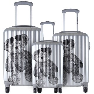 Lulu Castagnette Silver 3-piece Fashion Hardside Spinner Luggage Set