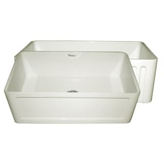 Reversible Series Fireclay Sink with Concave Front Apron and Fluted Front Apron