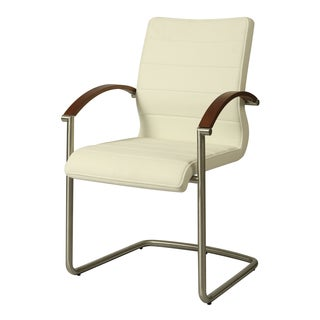 Akasha Polyurethane, Stainless Steel, and Veneer Side Armchair (Set of 2)