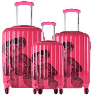Lulu Castagnette Fuchsia 3-piece Fashion Hardside Spinner Luggage Set