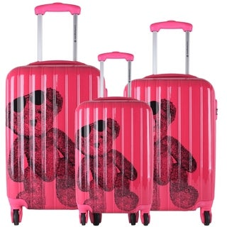 Lulu Castagnette Fuchsia 3-piece Fashion Hardside Spinner Luggage Set