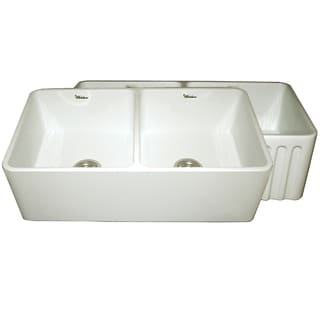 Reversible Series Fireclay Farmhouse Sink with One Smooth Front Apron Side and One Fluted Front Apron Side