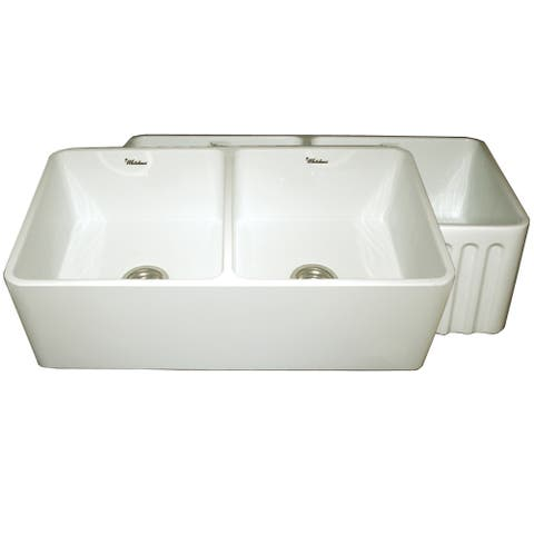 Reversible Series Fireclay Farmhouse Sink with One Smooth Front Apron Side and One Fluted Front Apron Side - Biscuit