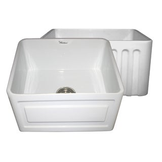 Reversible Series Fireclay Farmhouse Sink With Raised Panel Front Apron Side and Fluted Front Apron Side