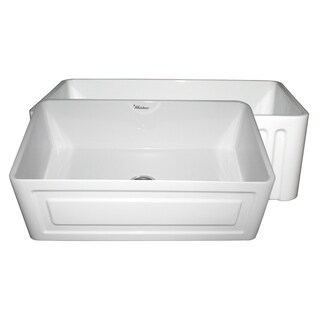 Fireclay Reversible Sink with Raised Panel and Fluted Front Aprons - White