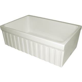 Quatro Alcove Fireclay Reversible Sink With Fluted Front Apron and 2-inch/2.5-inch Decorative Side Lips