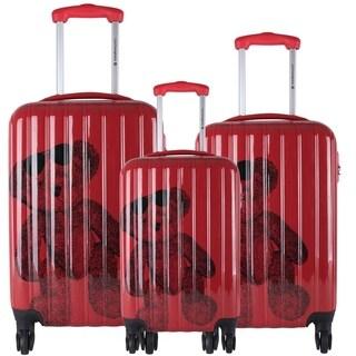 Lulu Castagnette Red 3-piece Fashion Hardside Spinner Luggage Set