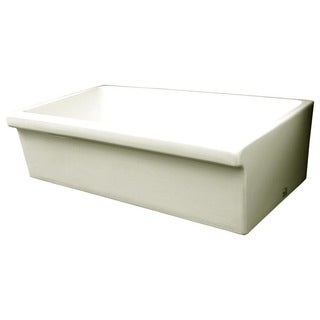 Large Quatro Alcove Fireclay Reversible Sink with 2-inch/2.5-inch Decorative Side Lips