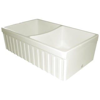 Quatro Alcove Fireclay Reversible Double-bowl Sink with Fluted Front Apron and 2-inch/2.5-inch Side Lips
