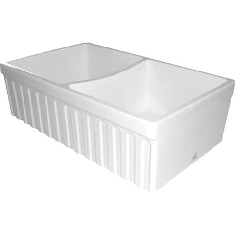 Whitehaus Collection Fireclay Quatro Alcove Double Bowl Sink