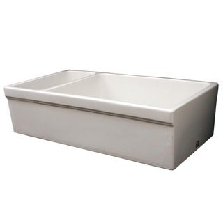 Large Quatro Alcove Reversible Rectangular Fireclay Farmhouse Sink with Small Bowl and Decorative 2.5-inch Lip on Both Sides