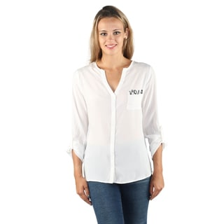 Hadari Womens Pink V-Neckline button down blouse with cuff sleeves and front left pocket