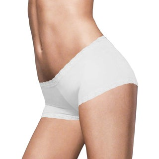 Women's White Microfiber and Lace Boy Shorts