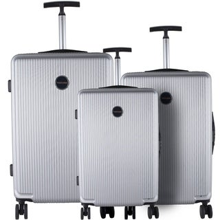 Murano Silver ABS/Aluminum/Nylon/Mesh 3-piece Lightweight Hardside Spinner Luggage Set