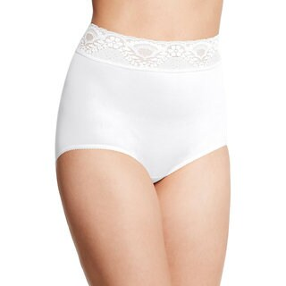 Bali Women's Lacy Skamp White Nylon/Spandex Brief Panties