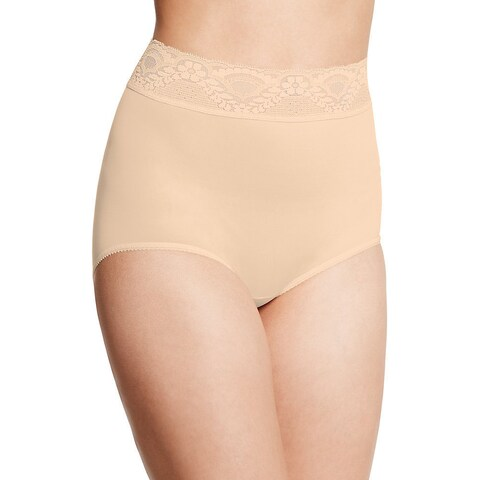 Bali Women's Lacy Skamp Mocha Mist Nylon/Spandex Brief Panty