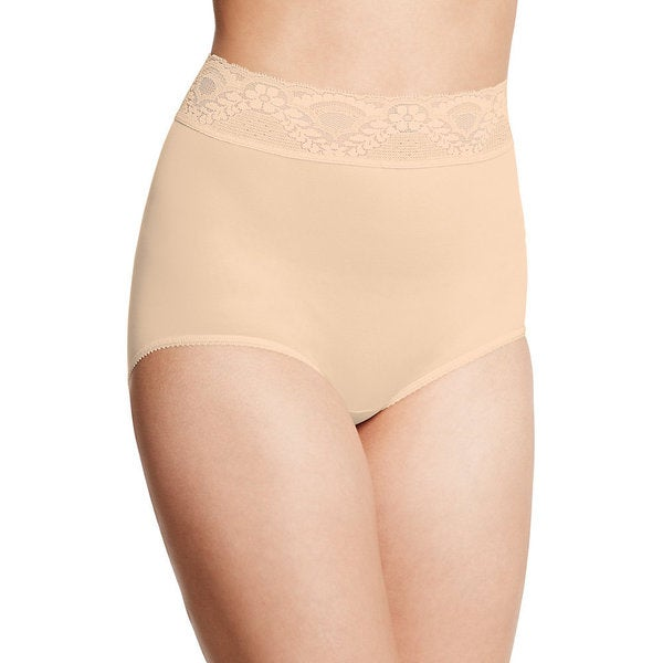 Bali Women's Lacy Skamp Mocha Mist Nylon/Spandex Brief Panty