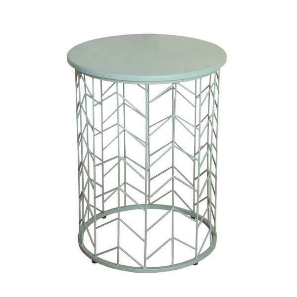 Homepop Geometric Metal Accent Table Blue Surf Free