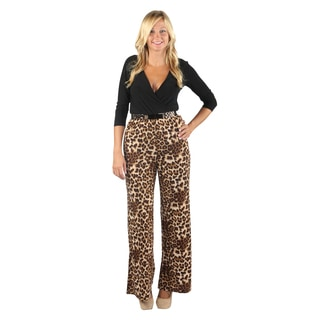 Hadari Womens Black Medium Sleeve Leopard Flare Pantsuit with Elastic Waistband