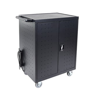Luxor LLTP32-B 32 Black Steel 28.5-inch W x 21-inch D x 38.25-inch H Laptop/Chromebook Charging Cart
