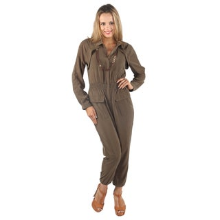 Hadari Womens Olive Full Sleeve Harem ankle pant Jumpsuit with front pockets