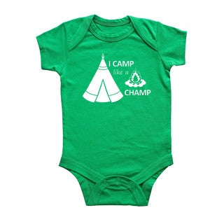 "Rocket Bug ""I Camp Like A Champ"" Baby Bodysuit"