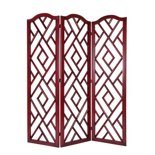 Red Wood Chinese Chippendale Screen
