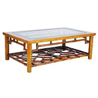 Macau Maple and Rattan Glass-top Coffee Table