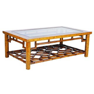 Macau Maple and Rattan Glass-top Coffee Table