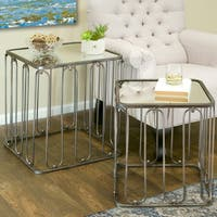Abana Glass-top Metal Modern Square Nesting Mirrored End Table (Set of 2)