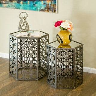 Abrianna Glass-top Metal 2-piece Hexagon Nesting Mirrored End Table Set