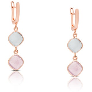 Samantha Stone Rose Gold Over Sterling Silver Simulated Cat's Eye Dangle Earrings