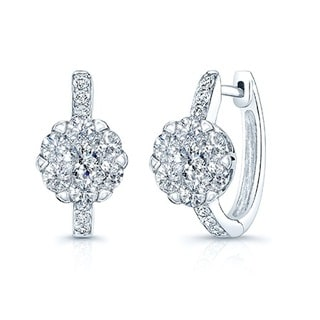 14k White Gold 1 1/2ct TDW Diamond Cluster Leverback Earrings (H-I, SI1-SI2)