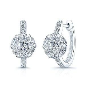 14k White Gold 1 1/2ct TDW Diamond Cluster Leverback Earrings