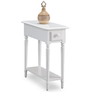 Coastal White Wood Accent Table