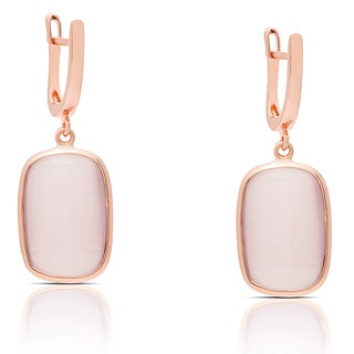 Samantha Stone Rose Gold Over Sterling Silver Simulated Pink Cat's Eye Dangle Earrings