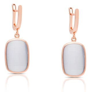 Samantha Stone Rose Gold Over Sterling Silver Simulated Blue Cat's Eye Dangle Earrings|https://ak1.ostkcdn.com/images/products/12141857/P18997575.jpg?impolicy=medium