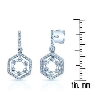 14k White Gold 1/2ct TDW Diamond Hexagon Drop Earrings (H-I, SI1-SI2)