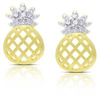 Finesque Gold Over Sterling Silver Diamond Accent Pineapple Earrings