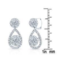14k White Gold 1ct TDW Diamond Cluster Tear Drop Earrings