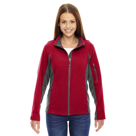 Generate Women's Classic Red Textured Fleece Jacket