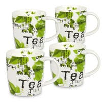 Waechtersbach White/Green Bone China Mugs (Set of 4)