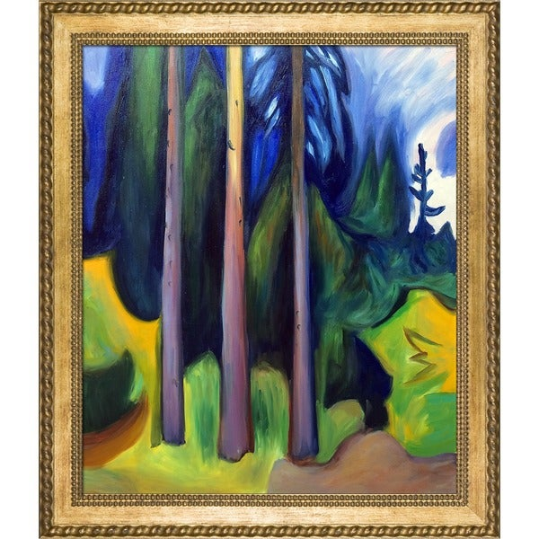 Edvard Munch 'Forest, 1903' Hand Painted Framed Canvas Art