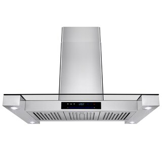 AKDY 36-inch Hood Touch-screen Display Light Lamp Vented Cooking Fan Stove Kitchen Vents LED Stainless Steel Island Mount Range