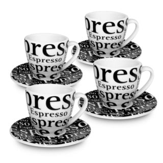 Konitz Waechtersbach Coffee Bar White and Black Porcelain Text Espresso Cups With Saucers Gift Boxed (Set of Four)