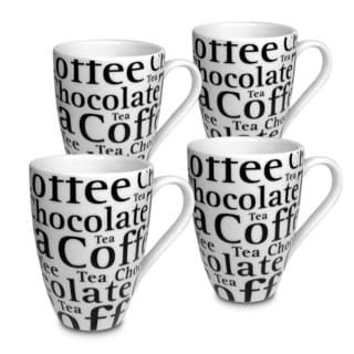 Konitz Waechtersbach Coffee Bar #9 White/Black Porcelain Gift Boxed Writing Mugs (Pack of 4)