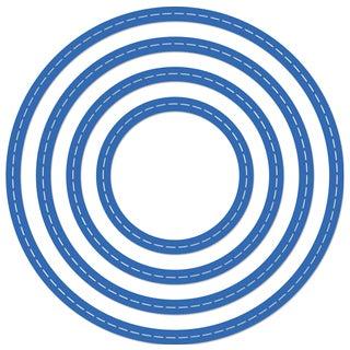 "Kaisercraft Nesting Dies 4/Pkg Stitched Circles 2""X2"" & 3.75""X3.75"""