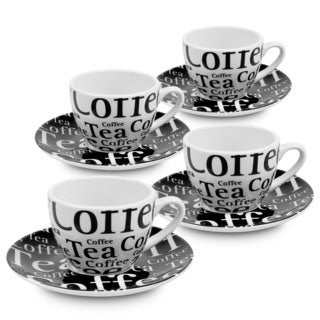 Konitz Waechtersbach Coffee Bar White and Black Porcelain Text Coffee Cups with Saucers Gift Wrapped (Set of 4)
