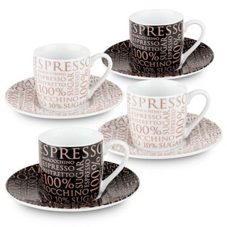 Konitz Waechtersbach 100-percent Coffee White/Black Porcelain Espresso Cups and Saucers (Pack of 4)